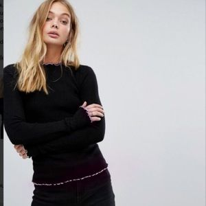 Black sweater w/ subtle ruffle purple bottom US 2